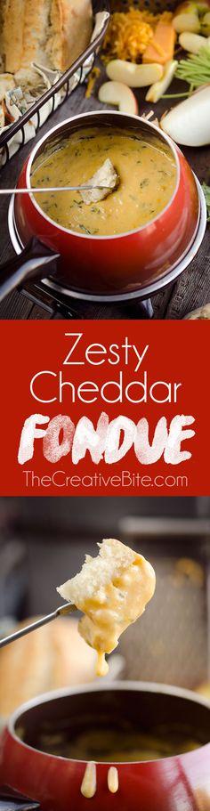 Delicious Zesty Cheddar Fondue recipe  #HappiMess #DeltaLiving #AD