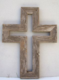 Barnwood cross. Room for all in the stable.