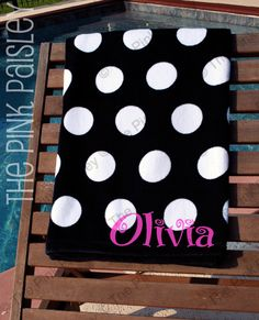 Monogram Polka Dot Beach Towel by PinkPaisleyMonograms on Etsy Monogrammed Beach Towels, Monogram Towels, Embroidery Monogram, Monogram Fonts, Monogram Letters, Monograms, Blue Jean Purses, Cheer Gifts, Machine Embroidery