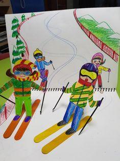 스키타는 사람 : 네이버 블로그 Kindergarten Art Lessons, Art Lessons Elementary, Kids Art Class, Art For Kids, Drawing For Kids, Painting For Kids, Winter Art Projects, 4th Grade Art, Middle School Art