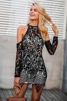 0d8769f9778b Simplee Halter off shoulder black lace dress Women sexy slim bodycon dress  vestidos Elegant fringe tassels party mini dresses