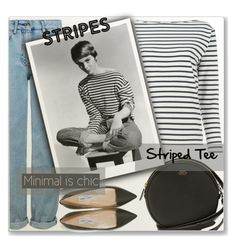 """""""Stripes"""" by myfashionwardrobestyle ❤ liked on Polyvore featuring Yves Saint Laurent, Topshop, Vince Camuto and Jimmy Choo"""