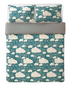 When the rainy days keep you inside, snuggle up in this Donna Wilson bed linen, featuring raining clouds on a dark green background and a contrasting chequered pattern on the reverse. Made in Portugal, each set includes one king size duvet cover King Size Duvet Sets, King Size Duvet Covers, Double Duvet Set, Double Duvet Covers, Nursery Bedding Sets Girl, Toddler Girl Bedding Sets, Restoration Hardware Bedding, Dark Green Background, Linen Bedding