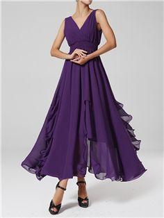 Ericdress V-neck Sleeveless Chiffon Maxi Dress