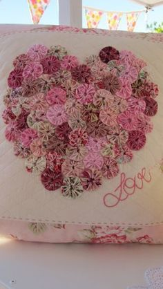 14 valentine pillows :: cushion with yoyos heart :: FineCraftGuild.com