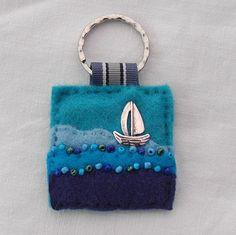Sailing boat felt keyring  hand sewn  by elliestreasuresuk on Etsy