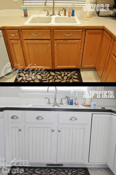 {Kitchen Cabinet} Transformation! They added beadboard to the center of the cabinets. What a difference!
