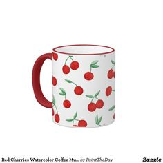 Red Cherries Watercolor Coffee Mug Cherry Bomb Red designed by watercolor artist Stephanie Denne of Paint the Day Designs.