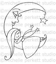 Digital Stamp Image Fairy Children Nursery Moon by michelleperkett, $3.50