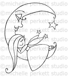 Digital Stamp Image Fairy Children Nursery Moon Sleeping Star