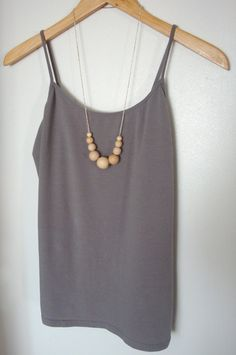 Graduated wood bead necklace natural jewelry mom by paragraphloop, $16.00
