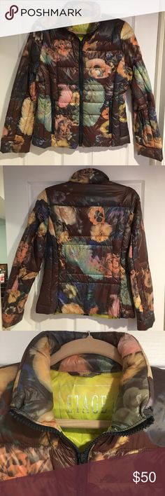 Etage Puffy Jacket Brown base with floral detail - brand new - never been worn - super comfy - runs a little smaller Etage Jackets & Coats Puffers