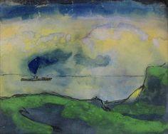 Emil Nolde, Green Coastal Landscape with Steamer on ArtStack #emil-nolde #art