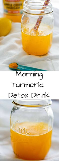 Morning Turmeric Detox Drink with apple cider vinegar, maple syrup and a pinch of cayenne. Lots of health benefits in this elixir to kickstart your day! via detox drinks Morning Turmeric Detox Drink Healthy Detox, Healthy Drinks, Vegan Detox, Healthy Food, Vegan Food, Healthy Water, Healthy Lunches, Healthy Recipes, Raw Vegan