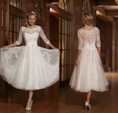 Informal Wedding Dresses 2016 Vintage Tea Length Lace Sheer Crew Neck Half Sleeves Bridal Gowns Tulle Appliques With Hand Made Flower