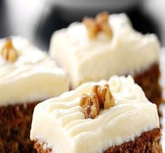 Enjoy our twist on an old favourite with this recipe for carrot cake. Using FAGE Total Yoghurt ensures a moist cake in addition to being healthier. Greek Sweets, Greek Desserts, Moist Carrot Cakes, Moist Cakes, Sweet Recipes, Cake Recipes, Dessert Recipes, Yogurt Recipes, Cake Bars
