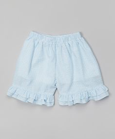 Turquoise Ruffle Seersucker Shorts - Infant, Toddler & Girls   zulily