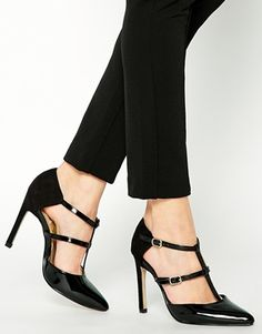 New+Look+Solitaire+Black+Double+Strap+Heeled+Shoes