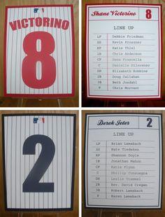 Centerpiece ideas and favors... New York Yankees baseball theme wedding :  wedding Yankees Seating Chart