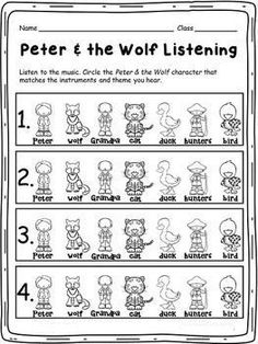 This quiz will help you assess how well your students can identify the character from Prokofiev's, Peter & the Wolf, with its instrument(s) and theme. If you like this FREE item, please take a moment to look at some of my other products and remember. Preschool Music, Music Activities, Teaching Music, Teaching Resources, 2nd Grade Music, Elementary Music Lessons, Music Education, Bilingual Education, Physical Education
