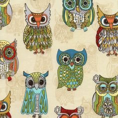 Timeless Treasures House Designer - Funky Owls - Funky Owls in Cream