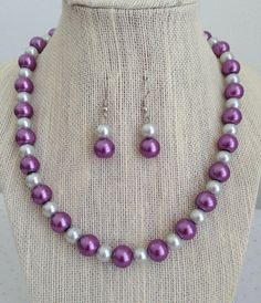 Purple Pearl Necklace, Purple Prom Jewelry, Bridal Party Jewelry, Purple and Silver Wedding Jewelry Set, Purple Bridal Wedding Necklace Purple Wedding Jewelry, Purple And Silver Wedding, Bridal Party Jewelry, Prom Jewelry, Bridesmaid Jewelry Sets, Wedding Jewelry Sets, Beaded Jewelry, Beaded Necklace, Pearl Necklace
