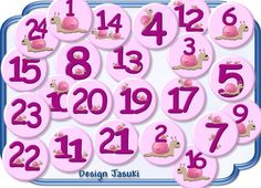 24 Button,Schnecke Adventszahlen,Adventskalender von Jasuki auf DaWanda.com