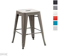 Duhome Metal/iron Bar Stool Grey chair/stackable Industry Design Colour Selection 665B: Amazon.co.uk: Kitchen & Home