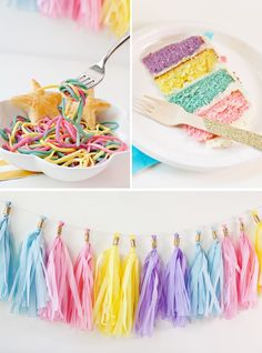 Rainbow Unicorn Party Food and Garland Unicorn birthday party ideas Unicorn Birthday Decorations, Unicorn Themed Birthday Party, Rainbow Birthday Party, Birthday Party Themes, 5th Birthday, Pastel Party Decorations, Simple Birthday Decorations, Frozen Birthday, Birthday Ideas