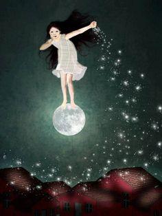 62 Ideas For Dancing Girl Illustration Night Sun Moon Stars, Sun And Stars, Fuchs Illustration, Moon Illustration, Illustrator, Moon Dance, Moon Pictures, Good Night Moon, Moon Magic
