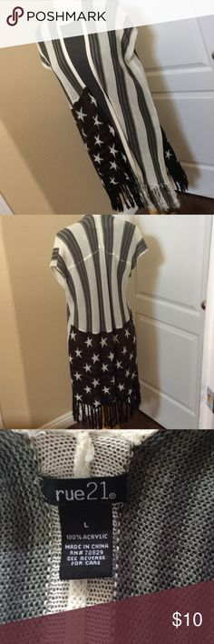 Patriotic fringe vest wrap shawl duster L Cute and fun Rue 21 Tops