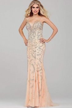 Blush Beaded Prom Dress 33704