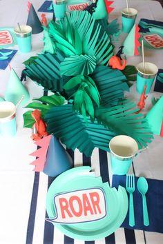 We celebrated with a cool modern dinosaur birthday party. The jungle dinosaur bash with aqua, navy & coral decorations was dino-mite! Birthday Party Tables, Dinosaur Birthday Party, Elmo Party, Mickey Party, Party Animals, Animal Party, Third Birthday, Boy Birthday, Birthday Ideas