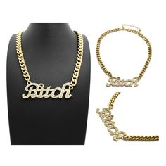 "ICED OUT 'BITCH' PENDANT & 16"" LINK CHAIN NECKLACES"
