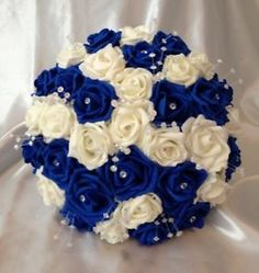 Artificial Flowers Royal Blue / Ivory Foam Rose Bride Crystal Wedding Bouquet for sale Boquette Wedding, Wedding Flower Guide, White Wedding Bouquets, White Wedding Flowers, Bride Bouquets, Flower Bouquet Wedding, Crystal Wedding, Wedding Blue, Wedding Ideas