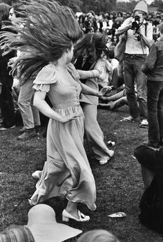 Girls grooving at the Rolling Stones concert in Hyde Park, 1969.