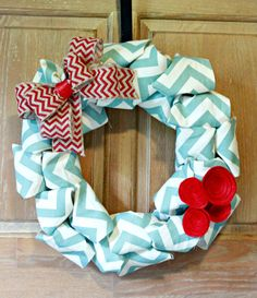 Blue Chevron Wreath with Red Felt Flowers and Chevron Bow