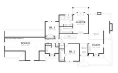 Upper Floor Plan of Mascord Plan 2371A - The Hayfield - Farmhouse with Elevator