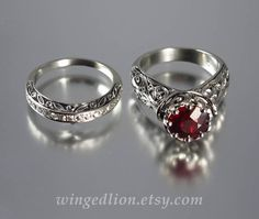 The ENCHANTED PRINCESS 14k gold Ruby engagement ring by WingedLion