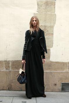 Black maxi dress and jacket