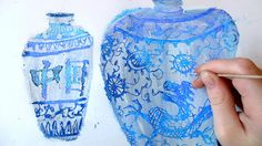 Ming Vases- oil pastel with gesso painted over-top, then scratch out designs. So cool!
