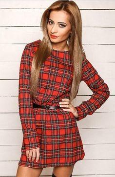 Plaid Print O-neck Long Sleeve Short Dress