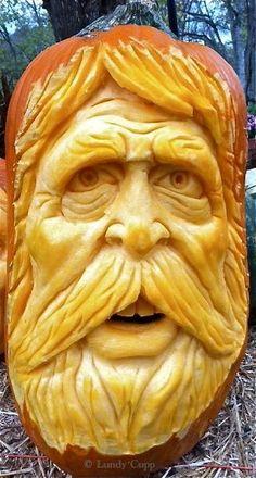 Halloween Pumpkins, Halloween Crafts, Happy Halloween, Halloween Ideas, Amazing Pumpkin Carving, Pumpkin Carvings, Fruit Carvings, Pumpkin Man, Pumpkin Faces
