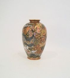 Pretty Antique Japanese Satsuma Vase, Marked, 12 Men, Immortals, Dragon, AS IS
