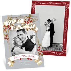 """From the David Tutera Holiday Collection. Let friends and family know you're feeling """"Merry and Bright"""" this holiday season with this gorgeous Christmas card designed with newlyweds in mind. #DavidTutera #christmasCards #holiday"""