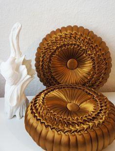 set of two gold satin smock pumpkin pillows home decor pillow round pillows