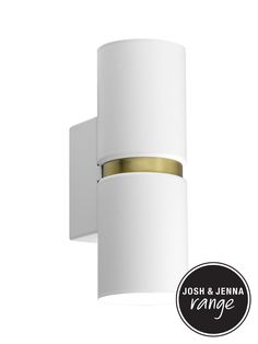 Baristo 2 Light Up/Down Round Wall Bracket in White/Brass