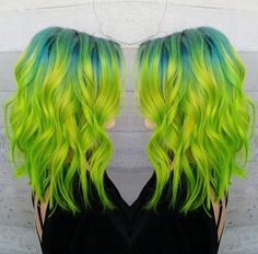 gorgeous chartreuse hair with teal roots