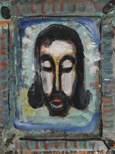 Artwork by Georges Rouault, LA SAINTE FACE, Made of Oil and ink on paper mounted on canvas