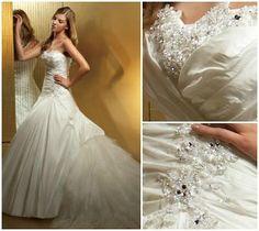 Benjamin Roberts wedding dress with detachable ruffled train. Benjamin Roberts, Ruffled Dresses, Ruffles, One Shoulder Wedding Dress, Size 10, Glamour, Train, Bridal, Wedding Dresses